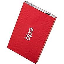 """Bipra - Hard-Disk esterno portatile NTFS, 63,5mm (2,5""""), USB 2.0, colore: Rosso 250 Gb"""