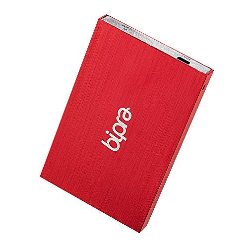 Bipra Tragbare externe Festplatte (63,5mm/2,5Zoll, USB 2.0, NTFS), Rot Metallic rot 120 GB