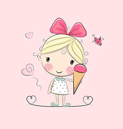1 Sommersweat/French Terry Panel (40x50cm) - süßes Mädchen auf rosa mit köstlichem EIS Herzen und Schmetterlingen - rosa pink gelb Mint - Kinderstoff mit Einzelmotiv - Ökotex -