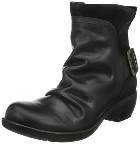Fly London MEL, Damen Biker Boots, Schwarz (BLACK 003), 42 EU (Boot Buckle Suede)