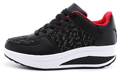 NEWZCERS ragazze delle donne in esecuzione formatori palestra fitness sport scarpe da trekking formatori moda cuneo scarpe sportive da jogging Nero/Rosso