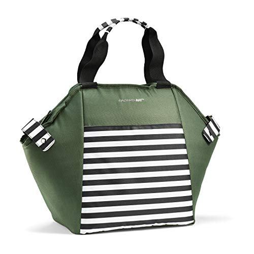 Rachael Ray Hexagon Chillout Tote Große Kapazität Einkaufstasche mit Reißverschluss oben grün/schwarz gestreift