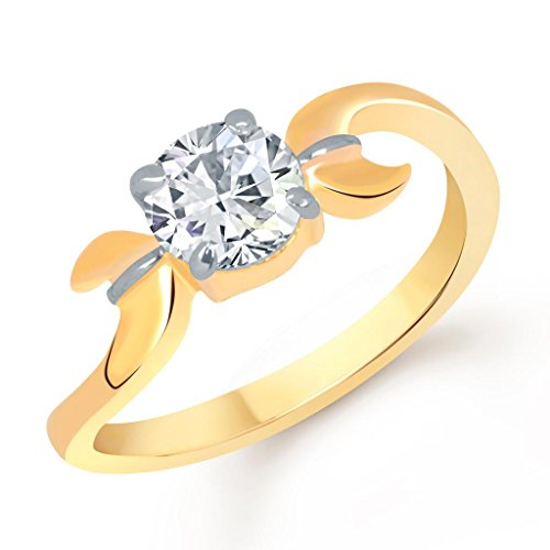 VK Jewels Crossover Solitaire Gold and Rhodium Plated Ring- FR1294G [VKFR1294G]
