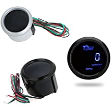 KKmoon Tacómetro Medidor Digital de Tach para Coche 52mm 2 Pulg LCD 0 ~ 9999RPM Luz Advertencia