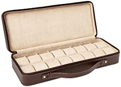 Tech Swiss TS5851BRN Leather Watch Box Extra Large Watch Case