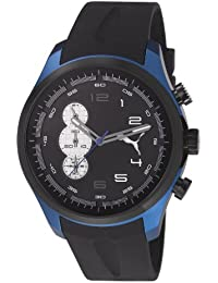 Puma Velocity Unisex Quartz Watch with Black Dial Chronograph Display and Black PU Strap PU103131003