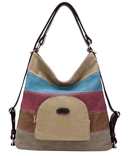 5169f0868a093 Panegy Damen Frauen Casual Tasche Mode Bunt Streifen Canvas Schultertasche  Fashion Ethnischen Stil Handtasche Für Büro