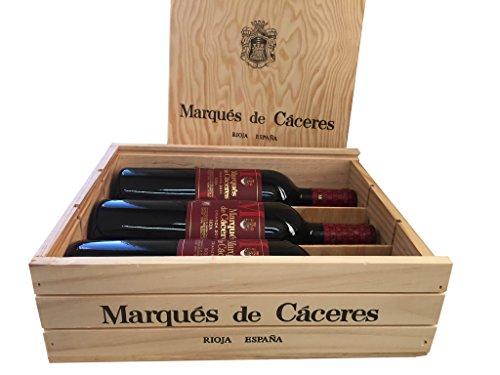 Caja De Madera 3 Botellas - Marqués De Caceres Crianza 2012 - Vino Tinto