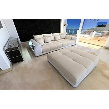 Bigsofa Miami Beige Weiss Megasofa Big Sofa Mit LED Beleuchtung