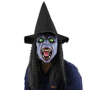 Eizur Gruselig Scary Halloween Kopfmaske Latex Horror Head Maske Teufel Hexe Kappe Haube mit Toothy Grün Augen Horrormaske Geistermaske Karneval Kostüm Cosplay Requisiten für Fasching Partei Abendkleid
