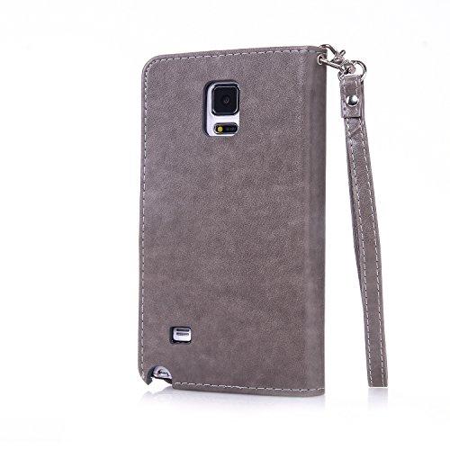 Preisvergleich Produktbild Anlike Samsung Galaxy Note 4 /SM-N9100 (5,7 Zoll) Hülle, Schutzhülle für Samsung Galaxy Note 4 /SM-N9100 (5,7 Zoll) Wallet Tasche [Butterfly geprägte Serie Bronzing] Handyhülle - Grau