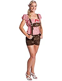 Damen Trachten Lederhose Kurz Shorts mit Träger Oktoberfest Lederhose hotpants dunkelbraun