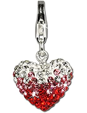 SilberDream Glitzer Charm Swarovski Kristalle Herz rot ICE Anhänger 925 Silber für Bettelarmbänder Kette Ohrring...
