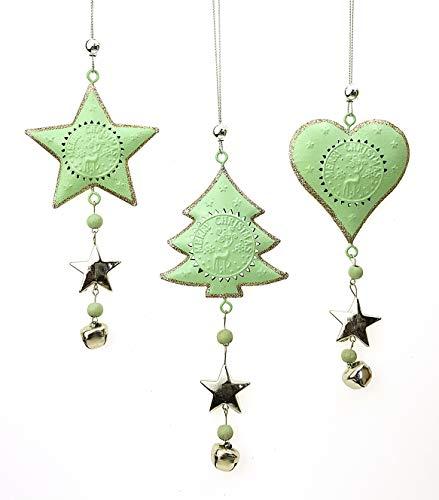 TEMPELWELT 3X Deko Anhänger Herz Stern Baum im Set je 15 cm, Metall Mint Silber, Nostalgie Weihnachtsdeko Dekokette Dekoanhänger Fensterschmuck Winterdeko