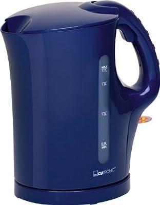 Bouilloire sans fil 1,7l acier inoxydable élément chauffant 2000W (Protection contre la surchauffe, arrêt automatique, clapet de sécurité, Bleu)