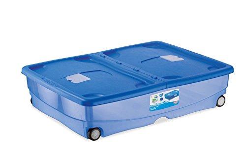 Kreher XXL Unterbettbox, Aufbewahrungsbox, Rollbox aus Kunststoff in Transparent/Blau. Deckel zu...