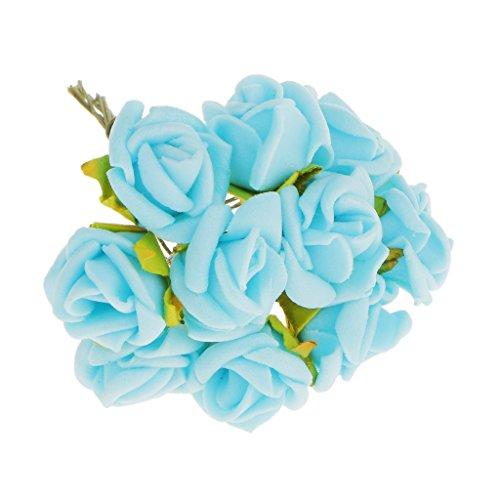 Magideal 100pz mini artificiali rose fiori bouquet sposa di cerimonia nuziale decorazione casa - multicolore - azzurro, 10 centimetri