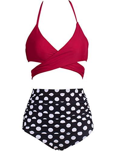 Dot Retro Neckholder (Eomenie Bikini Damen Set Retro Zweiteilige Badeanzug Bauchweg Damen Neckholder Punkt Blau Strandkleidung Triangel Oberteil Bandeau Strandmode)