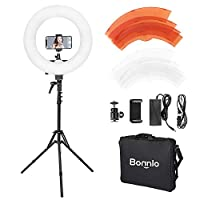 Bonnlo Ring Light with stand, Photo Video Lighting Kt: Dimmable 3200/5600K LED Ring Light with Hot Shot Adapter, Phone Holder for Youtube Makeup Phone Camera Video Shooting(with Carry Bag)