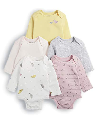Mamas & Papas Baby-Mädchen 5pack Bird Bodysuits Formender Body, (Pink S79GGY4), 56 (erPack 5)