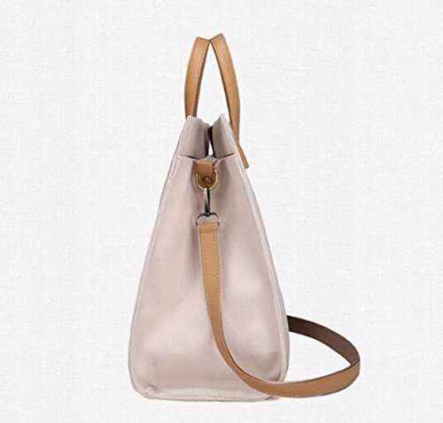 Damen-Tasche Einfache Leinentasche Stripes Hit Farbe Mode Schulter Large Capacity Handtasche Messenger Bag E