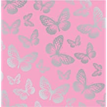 Fun4Walls - Papel pintado, diseño de mariposas, color rosa y plateado