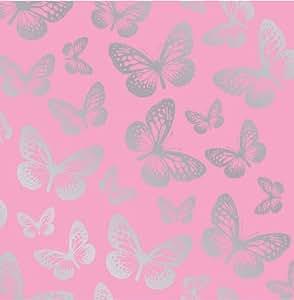 Fun4Walls Effect Butterflies Wallpaper, Metallic Silver
