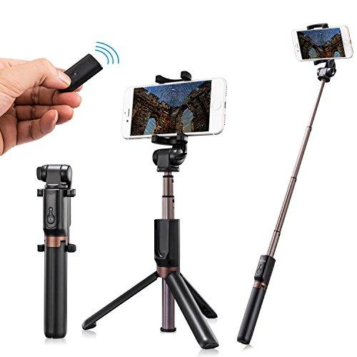 Bastone Selfie Treppiede - Humixx 3 in 1 Estensibile Selfie Stick con Bluetooth Remote Shutter Asta per Selfie Universale per iPhone X 8 7 7 Plus 6 6s 6s plus Samsung Galaxy s7 e Android 3.6-6 Inch Smartphone Rotazione di 360°