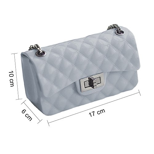 Young & Ming - Mini Jelly diamante Borse Donna Borse a tracolla Shoulder Bag con catena metallica Fashion Handbag Blu e Grigio