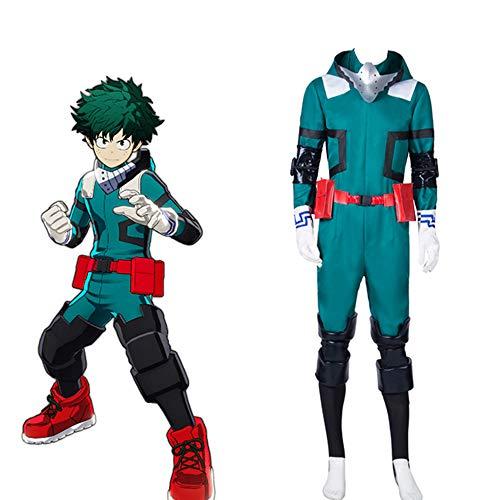 Vigilante Kostüm - Herren Midoriya Izuku Deku Cosplay Kostüm Boku No Hero My Hero Academia Uniform Kampfanzug Outfit mit grüner kurzer Perücke,XXL