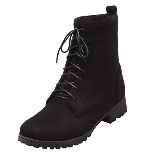 YE Damen Blockabsatz Ankle Boots Gefütterte Stiefeletten mit Schnürsenkel und Fell Bequem Simple...
