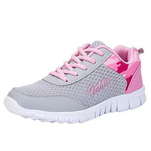FNKDOR Mode Damen Schuhe Sneaker Laufschuhe Wanderschuhe Sportschuhe (40.5, Rosa)
