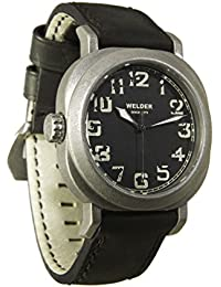 Welder Men's Quartz Watch with Black Dial Analogue Display and Black Leather Strap K19-503