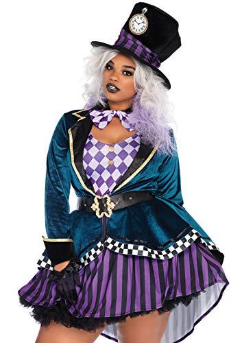 Leg Avenue 85592X Delightful Hatter Kostüm, Mehrfarbig, XXX-Large (EUR (Mad Hatter Alice Kostüm)