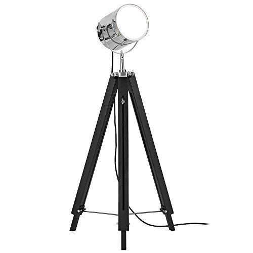 [lux.pro] Lámpara de pie trípode (1 x base E27)(64cm - 140cm) diseño industrial - tres pies - tres patas - trípode telescópico - cromo