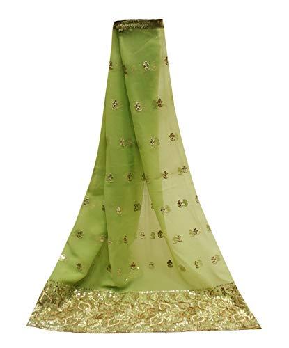 PEEGLI Jahrgang Indische Schal Grün Pailletten Wickeln Blumen Muster Lange Frauen Ethnischen Traditionellen Dupatta Georgette Mischung DIY Handwerk Stoff Gestohlen -