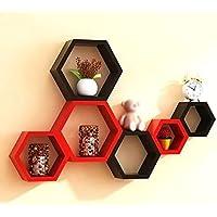 Furniture Cafe® Hexagon Wall Shelves Wooden Shelf Home Decor Items Rack for Living Room, Bedroom, Kitchen Corner, Office…