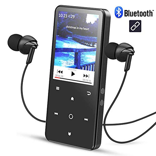 AGPTEK 2,4 Pollici Lettore Mp3 Bluetooth 16 GB, C2SB Mp3 Player di Metallo Schermo a Colori con Radio FM y Slot per Schede SD, Colore Nero