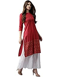 Amayra Women's Cotton Red Solid Straight Kurti