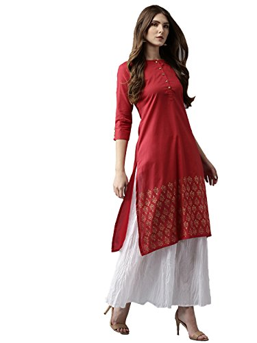 Amayra Womens Cotton Red Solid Straight Kurti(X-Large,Red)