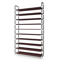 Awenia Shoe Rack 3/5 /10 Tiers 2019 Newest DIY Adjustable Organizer Metal-Up To 50 Pairs Shoes Storage Cabinet Shelves With Spare Parts Easy to Assemble(UPGRADES) (10 Tiers)