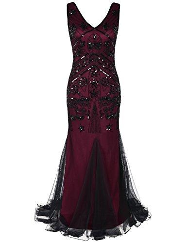 Kayamiya Damen 1920 Prom Kleider Pailletten Lange Meerjungfrau Formelle Abendkleid L - Kleider Prom Lange Bling