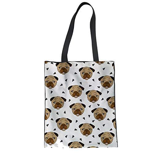 LIAN Store Einkaufstasche aus Segeltuch mit Mops-Druck, für Damen, umweltfreundlich, für Frühling und Sommer, T9 - Größe: Medium -