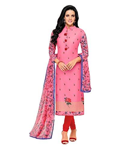 AppleCreation Women\'s Cotton Dress Material (Dresses 17Dmk279_Pink_Free Size)