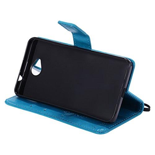 Custodia Microsoft Lumia 650 ISAKEN Cover Nokia N650 con Strap, Elegante borsa Farfalla Design in Pelle Sintetica Ecopelle PU Case Cover Protettiva Flip Portafoglio Case Cover Protezione Caso con Supp Albero: blu