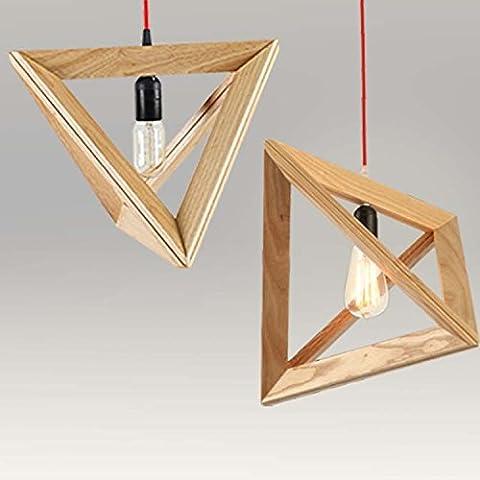 YUPX Lampadario Ristorante chandelier triangolo nordico, negozio di abbigliamento Café loft lampade di legno di legno solido legno Lampadario personalità creativa , 420mm finished productslampadari Lampada sospensione da soffitto - Ash Tonalità Legno