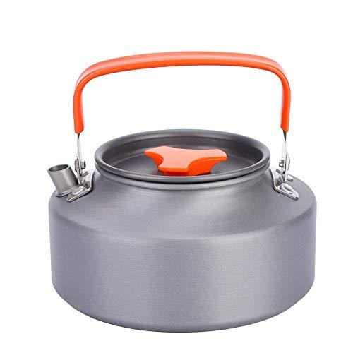 Fdit Portatile in Acciaio Inox 1.1L Teiera caffè teiera Bollitore per Cucina da Campeggio(1.1L-Orange Handle)