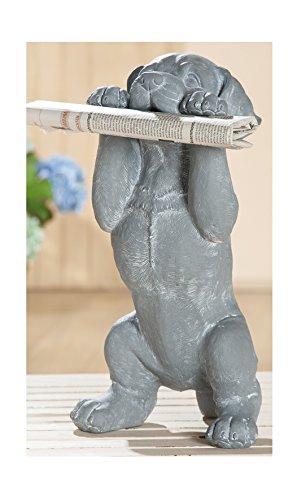 Gilde Décoration de Jardin Décoration de Jardin Figurine Chien Décoration de Jardin Chien Chien, résistant aux intempéries, Gris Blanc, 46 cm