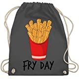 Statement Shirts - Fry Day - Pommes frites - Unisize - Dunkelgrau - WM110 - Turnbeutel & Gym Bag