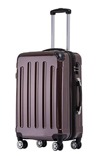 BEIBYE Zwillingsrollen 2048 Hartschale Trolley Koffer Reisekoffer Taschen Gepäck in M-L-XL-Set (Coffee, M)